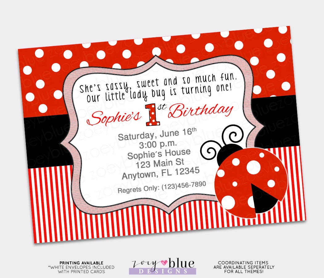 Ladybug Birthday Invitation 1st First Birthday Invitation Lady – Ladybug Invitations 1st Birthday