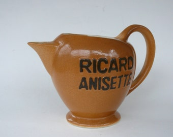 Ricard Anisette Jug, Vintage French Ceramic Water Pitcher, Bistro Pitcher, French Ceramic Jug, Vintage Barware