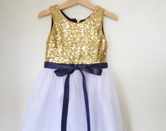 Gold, White and navy flower girl's dress, gold sequined and navy dress, gold flower girl dress
