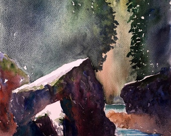 "Original Watercolor Landscape ""Capilano River highlights"""