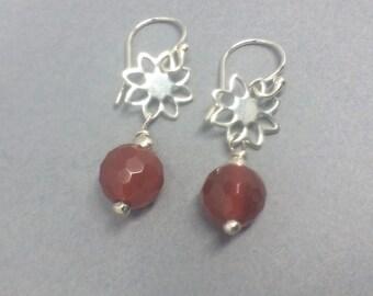 Orange Carnelian Petal Earrings, Sterling Silver Gemstone Earrings, Long Dangle Earrings, Jewellery Gift For Her, Burnt Orange Earrings