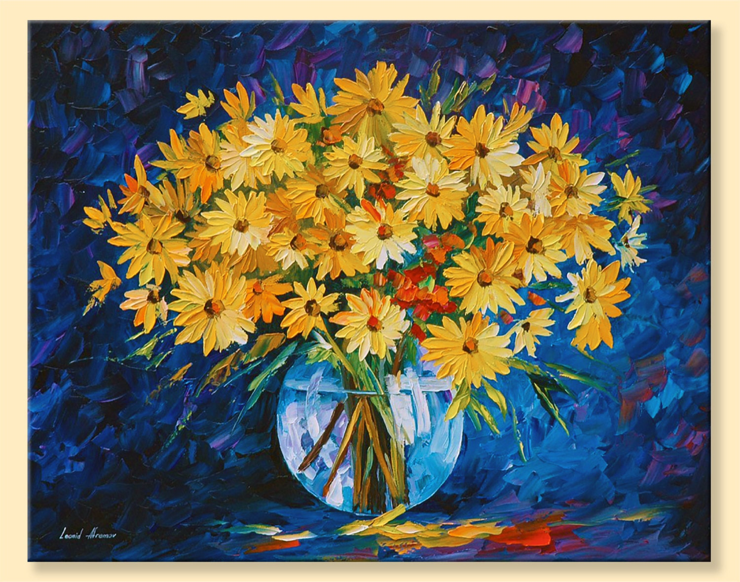 Yellow Flowers Wall Decor : Yellow on blue limited edition wall art flowers