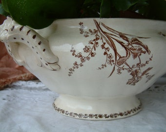 Antique french brown transferware ironstone tureen. Brown transferware. Choisy-le-roi. Antique soup tureen. Teastained french tureen
