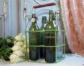 French vintage folding bottle carrier. Green bottle carrier. Green and red. Chippy paint. French shabby chic bottle carrier. Shabby decor
