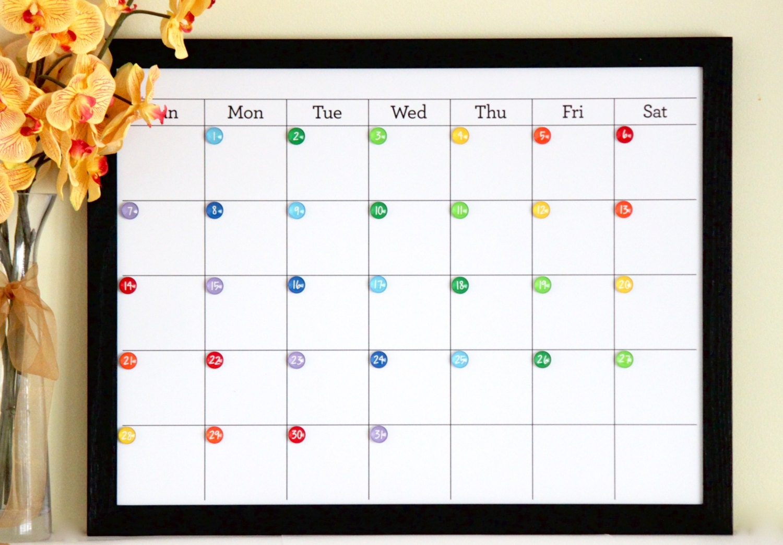 Dry Erase Calendar Magnetic : Magnetic dry erase medium custom framed calendar magnets