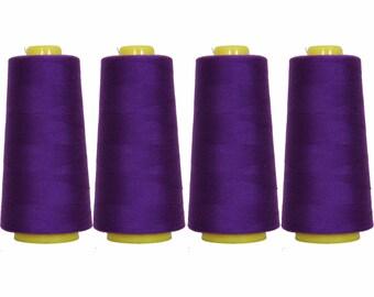 4 Big Cones Deep Purple Serger Sewing Thread 2750 Yd Tex 27 40s2 - Threadart