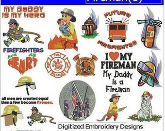 Embroidery Design CD - Fireman(1) - 17 Designs - 9 Formats - Threadart