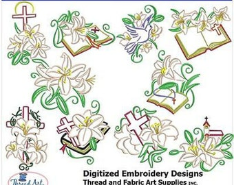 Embroidery Design CD -Easter Lilies(1) - 10 Designs - 9 Formats - Threadart