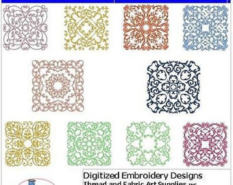 Embroidery Design CD - Quilt Blocks(3) - 10 Designs - 9 Formats - Threadart