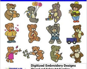 Embroidery Design CD - Bears(1) - 12 Designs - 9 Formats - Threadart