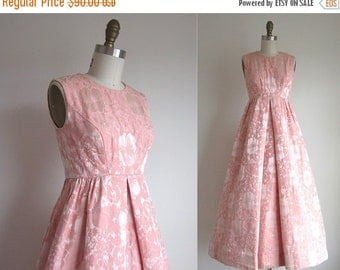 """SALE 30% OFF CLEARANCE 1950s Party Dress / Vintage 1950s Formal Dress / Long Formal Brocade Gown by Priscilla of Boston 24"""" Waist"""
