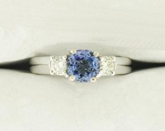 14K White Gold Diamond & Tanzanite Ring  (P2-6220-1)