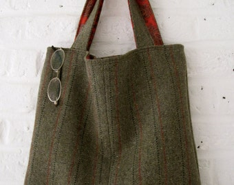 Handmade Recycled Lined Tweed Bag