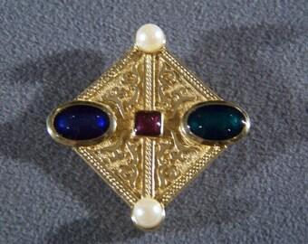 Vintage Yellow gold Tone Multi Colored Rhinestone Faux Pearl pin brooch W    **RL