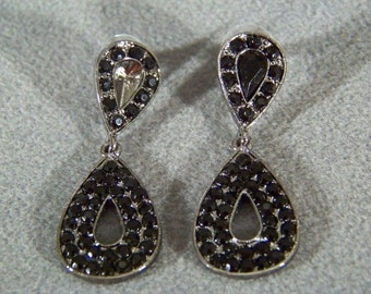 Vintage Jet Black Rhinestone Dangle Chandelier Earrings Jewelry **RL