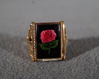 Vintage 12 K Yellow Gold Filled Natural Flower Glass Encased Fancy Scrolled Bold Band Ring, Size 7      *8RL