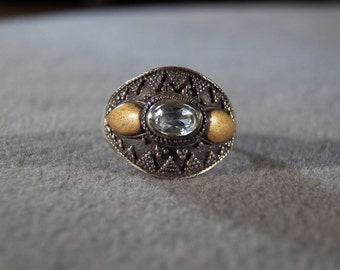 Sterling Silver Blue Topaz Ring with Amber Colored Accents and a Decorative Setting, size 7 **RL