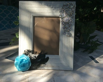 Shabby Chic Frame, Gift Ideas, Bling Picture Frame, Unique Picture Frame