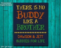 Little Boys Wall Art. Children's Wall Art. There is no Buddy like a Brother. Personalized Brother Wall Art. Big Brother Gift. Sibling Gift.