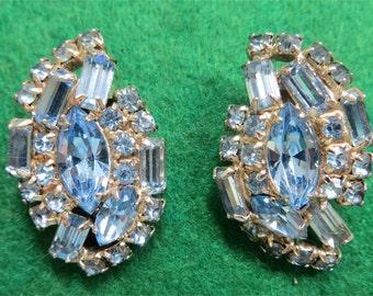 Fabulous 1950's Ice Blue Rhinestone Earrings - Silver Tone Frames - Free Shipping