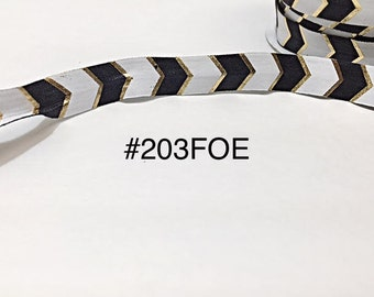 "2/3/5 yard - 5/8"" Gold, Black and White Fold Over Elastic Headband Hair Accessories"