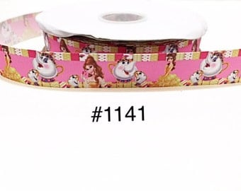 """3 or 5 yard - 1"""" Princess Belle With Tea Pot and Tea Cup Pink Grosgrain Ribbon Hair bow"""