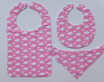 Toddler Bib, Pink Clouds! Bibs for Babies to Toddlers and beyond!