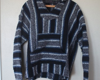 vintage black, blue & white striped hooded mexican poncho jacket *