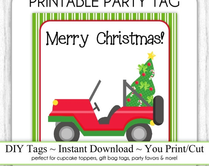 Christmas Printable Party Tags, Xmas Jeep, Kids Christmas Tags, DIY, You Print, You Cut, INSTANT DOWNLOAD