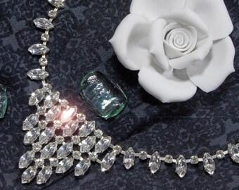 Vintage rhinestone necklace, rhinestone chain, 50's, 60's, necklace