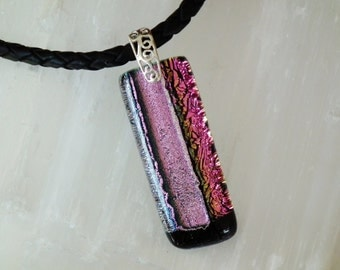 P30 Dichroic glass pendant and sterling silver .925