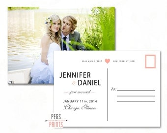 Postcard Marriage Announcement - Just Married Postcard PRINTABLE - Photo We Got Hitched Postcard - Photo Just Married Card - We Got Married