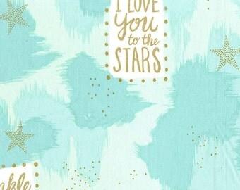 Half Yard - 1/2 Yard of You are Magic in Turquoise Metallic  - MAGIC by Sarah Jane - Michael Miller Fabrics