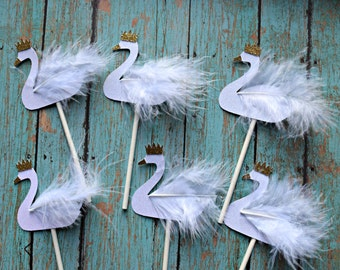 White and Gold Swan Cupcake Toppers with Crowns and Feathers