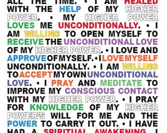 12 Step Recovery Affirmation Greeting Cards FREE US SHIPPING