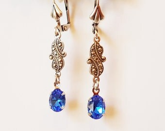 Vintage Swarovski Sapphire Blue Crystal Drop Earrings - victorian style september birthstone sterling silver plated