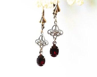 Vintage Swarovski Oval Garnet and Filigree Leverback Earrings dangle and drop small ornate intricate january birthstone