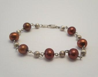 STERLING PEARLS BRACELET, Jewelry, Beads bracelet, Link bracelet, Pearls, Sterling silver, Chocolat pearls, Jewellery for women, Gift