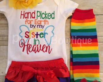 Hand picked for earth shirt or bodysuit-- Baby girls outfit-- Rainbow baby set-- Hand Picked for earth by sister in heaven -- can customize