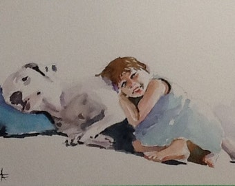 """Original Watercolor Painting, """"Nap Time"""", free shipping North America and UK"""
