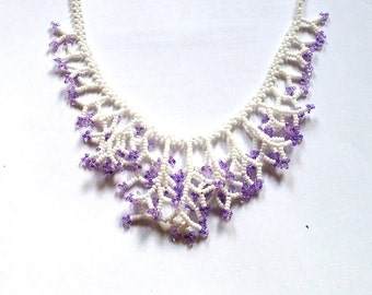 Beaded White Purple Necklace. Wedding Necklace. Christmas Gift. Gift For Women