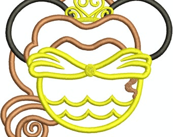 Character Inspired Belle From Beauty and The Breast Mouse Head Applique, Mouse Ears, Family, Disney Trip Machine Embroidery Design 184
