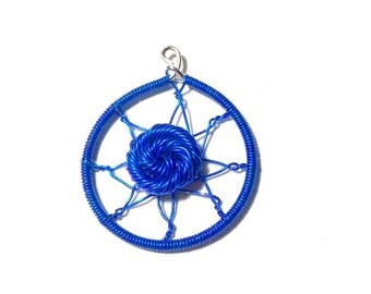 Blue dream catcher pendant