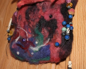 Wet and needle felted wool hand dyed bag. Made from my sheep's wool.