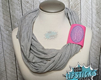 Initial Scarf Cuff - Two Toned - Customized, Scarf decoration, Winter Wear, Cuff, Scarf SCARF NOT INCLUDED