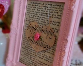 Pink Shabby Chic Frame Framed Vintage Aged German Book Page Picture Table Wall Decor Nursery Home Dorm Office Housewarming Hostess Gift Idea