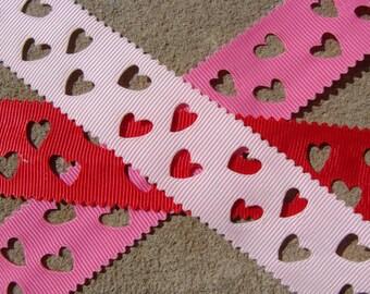 "3 yards Hollow ribbon Valentine ribbon Wrapping Valentines Hearts Grosgrain Hair Bow Printed Ribbon Valentines Day Ribbon - 1"""