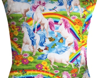 Designer unicorn horse rainbow pony vintage retro funky cushion cover