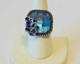 Vintage Style Square Beautiful Blue Rhinestone Fashion Ring Adjustable Band