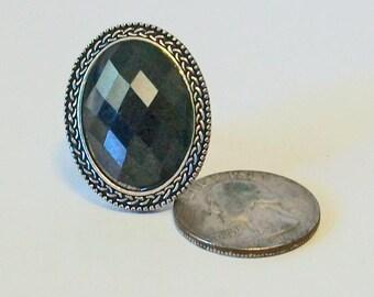 Extra Large Statement Oval Vintage Style Black Rhinestone Fashion Ring Adjustable Band